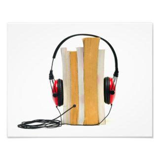 audiobook headphones read book audio education photo print