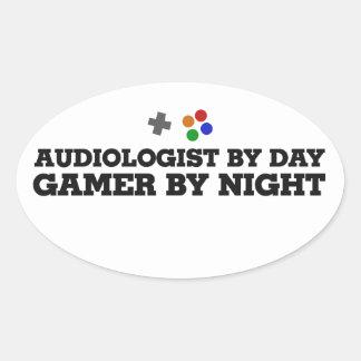 Audiólogo por videojugador del día por noche pegatina de oval personalizadas