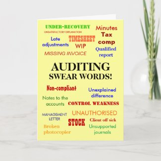 Auditing Swear Words! Rude Auditor Birthday Card card