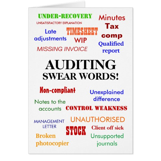 auditing swear words rude auditor birthday card  zazzle, Birthday card