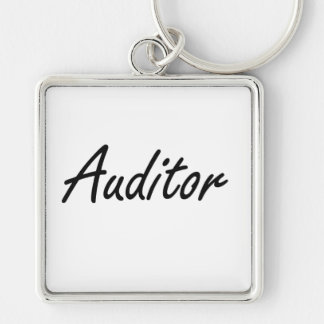 Auditor Artistic Job Design Silver-Colored Square Keychain