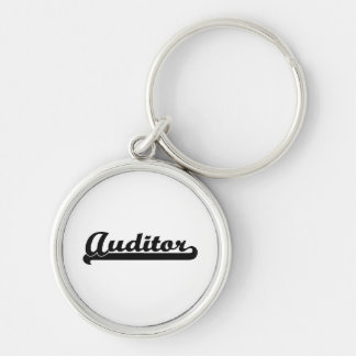 Auditor Classic Job Design Silver-Colored Round Keychain