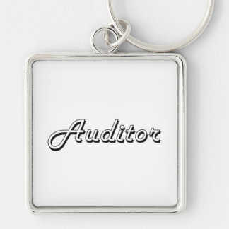 Auditor Classic Job Design Silver-Colored Square Keychain