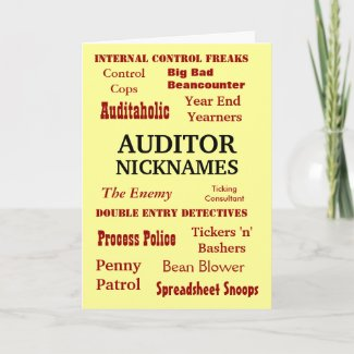 Auditor NICKNAMES - Rude Birthday Card card