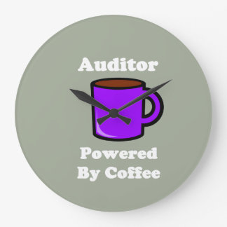 """Auditor"" Powered by Coffee Large Clock"
