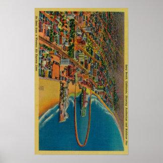 Auditorio, playa, y embarcadero del arco iris póster