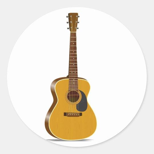 auditorium acoustic guitar classic round sticker. Black Bedroom Furniture Sets. Home Design Ideas