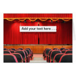 Auditorium with Red Curtains and Banner Greeting Card