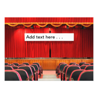 Auditorium with Red Curtains and Banner Invitation