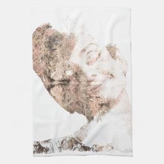 Audrey Double Exposure Print Hand Towel
