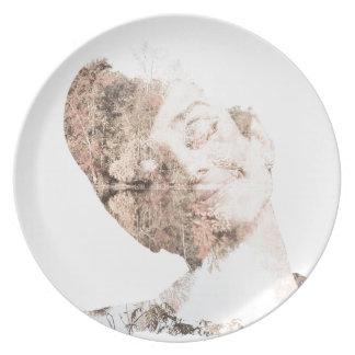 Audrey Double Exposure Print Melamine Plate
