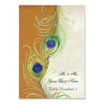 Audrey Jeanne Peacock Feather Gold Damask Escort Personalized Announcement