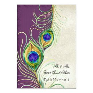 Audrey Jeanne Peacock Feather Purple Damask Escort 3.5x5 Paper Invitation Card
