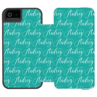 Audrey - Modern Calligraphy Name Design iPhone SE/5/5s Wallet Case