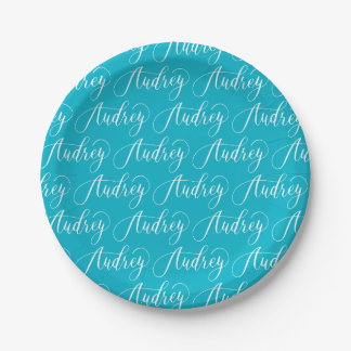 Audrey - Modern Calligraphy Name Design Paper Plate