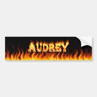 Audrey real fire and flames bumper sticker design