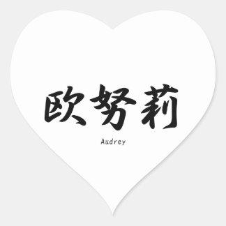 Audrey translated into Japanese kanji symbols. Stickers