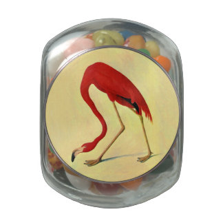 Audubon American Flamingo Painting Jelly Belly Candy Jar