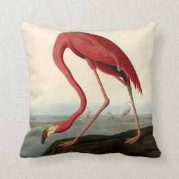 Audubon American Flamingo Throw Pillow