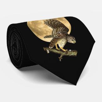 Audubon Barred Owl Moon Tie, Halloween Neck Tie
