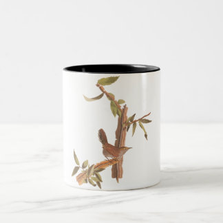 Audubon Bewick's Wren Solitary Song Bird on Branch Two-Tone Coffee Mug