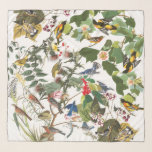 """Audubon Bird Collage Wildlife Animal Chiffon Scarf<br><div class=""""desc"""">Gorgeous collage of  vintage botanical fine   art of  all kinds of  Birds  by Audubon:  Orioles,  Warblers,  Bluebirds,  Flycatchers and more,  with Flowers and Leaves,   is on this Chiffon Scarf.  Image is public domain due to expired copyright. Collage is by me.</div>"""