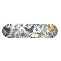 Audubon Bluebird Birds Animals Floral Skateboard