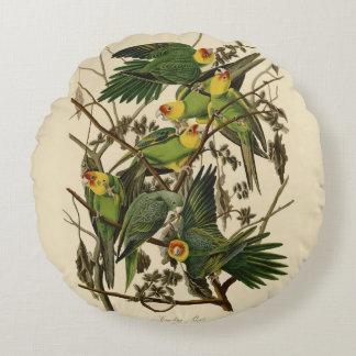 Audubon Carolina Parrot Print Birds of America Round Pillow