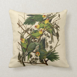 Audubon Carolina Parrot Print Birds of America Throw Pillow