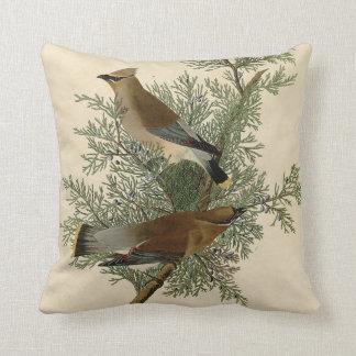 Audubon Cedar Waxwing Bird Throw Pillow