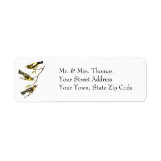 Audubon Evening Grosbeak Custom Return Address Label