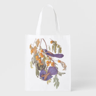 Audubon Florida Scrub Jay Bird on Orange Tree Reusable Grocery Bag
