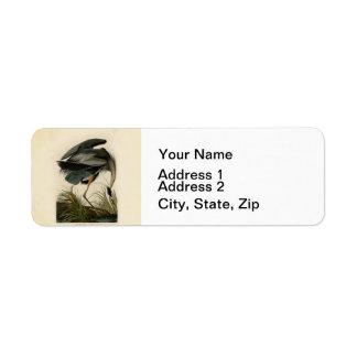 Audubon Great Blue Heron Birds Label