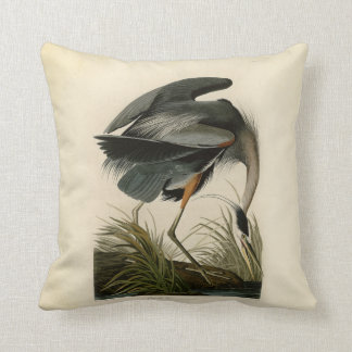 Audubon Great Blue Heron Birds Throw Pillow
