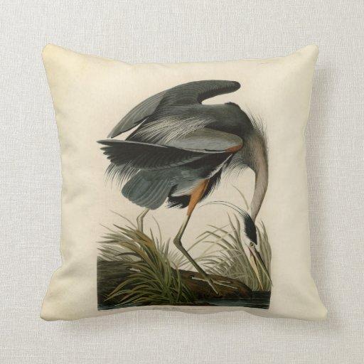 Blue Heron Throw Pillows : Audubon Great Blue Heron Birds Throw Pillow Zazzle