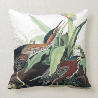 Audubon Heron Birds Wildlife Animal Throw Pillow