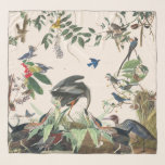"""Audubon Herons Song Birds Wildlife Chiffon Scarf<br><div class=""""desc"""">Gorgeous rich  collage of  vintage botanical fine   art of different Heron  Birds,  with Songbirds and others above,  by Audubon,     is on this Chiffon Scarf.  Images are public domain due to expired copyright.  Collage is by me.</div>"""