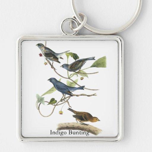 Audubon Indigo Bunting Print Keychains