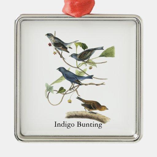 Audubon Indigo Bunting Print Metal Ornament