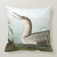 Audubon Loon Birds Wildlife Animal Throw Pillow