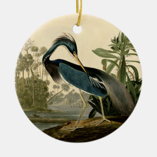 Audubon Louisiana Heron Ceramic Ornament