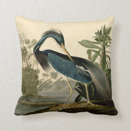 Audubon Louisiana Heron Throw Pillow