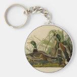 Audubon Mallard duck Bird Vintage Print Keychain
