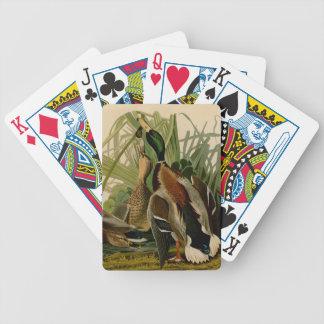 Audubon Mallard duck Bird Vintage Print Poker Cards