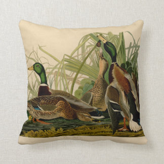 Audubon Mallard duck Bird Vintage Print Throw Pillow