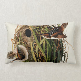 Audubon Marsh wren Vintage Bird Print Lumbar Pillow