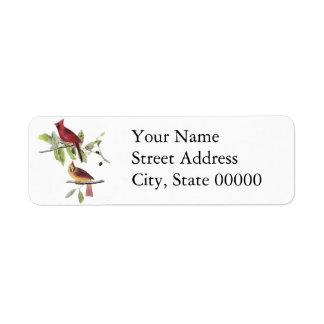 Audubon Northern Cardinal Return Address Label