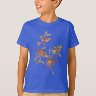 Audubon Painted Bunting Birds in Wild Plum Tree T-Shirt
