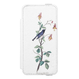 Audubon Plate 155 Black-Throated Blue Warbler Wallet Case For iPhone SE/5/5s