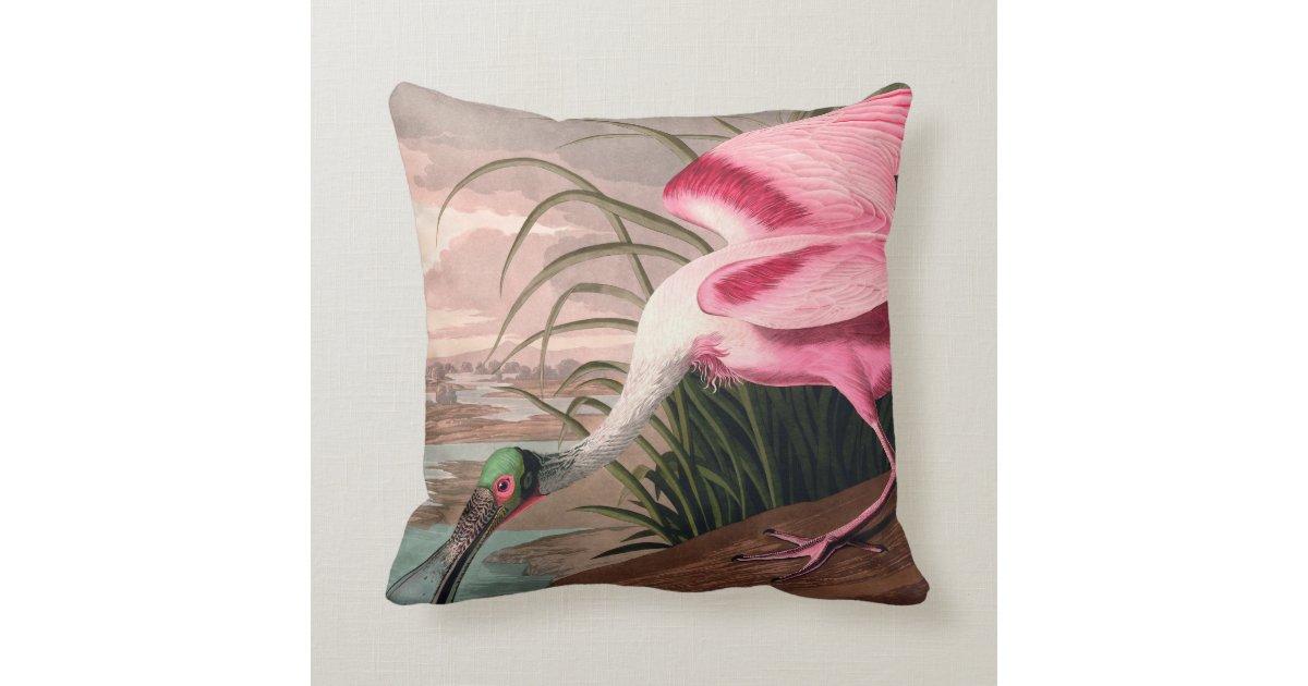 Audubon Roseate Spoonbill Bird Vintage Print Throw Pillow Zazzle